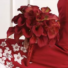 Red Calla Lily Bridal Bouquet maybe add some white lilac