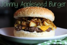 Johnny appleseed burger - caramelized onions and apples with cheddar and mustard, sounds simple and lovely #burger #food