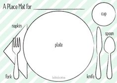 A template for proper table setting AND a place mat? Teach your kids how to set out the table with these fun printable place mats.  sc 1 st  Pinterest & Printable Table-Setting Place Mats | Pinterest | Color sheets Table ...