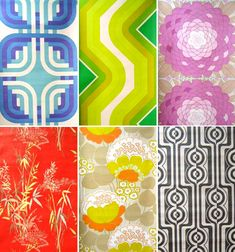 Vintage wallpaper: Johny Tapete. First row, l - r: Odyssey 2007, Orgon, Ultra Bloom. Second row, l - r: Japon, Summertime, Op Art.