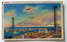 POSTCARD SKY RIDE CHICAGO WORLDS FAIR 1933 ILLINOIS #6077t