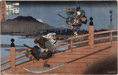 무엇으로 싸우는가? 2. 칼싸움 (사무라이의 싸움-우타가와 히로시게作) 설명 : 맨손싸움은 기술보다는 완력의 싸움인 반면, 한단계 발전한 무기싸움은 완력과 더불어 화려한 기술이 필요하다. 무기의 기본은 칼이고 칼하면 역시 진검승부를 하는 사무라이가 떠오른다. 달밤에 외나무다리에서 만난 두 사무라이는 이제 막 싸움을 시작하려는 듯 하다. 비현실적으로 기다란 거추장스러운 창은 내버려두고 검으로만 승부를 벌이려는 것 같다. 둘 중 오직 한명만이 다리를 건너게 될 것이다.