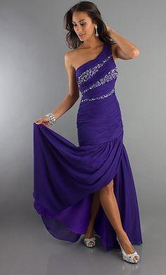 Ruched One Shoulder Open Back Formal Gown