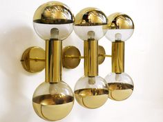 Trio of Staff Wall Sconces Lamps Design by Motoko Ishii Germany 1970s | eBay