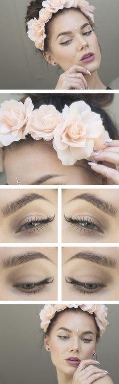 flower garland hair, soft romantic make up style inspiration