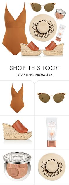 """""""Eres Larcin"""" by thestyleartisan ❤ liked on Polyvore featuring Eres, Ahlem, Chloé, Charlotte Tilbury, Christian Dior and August Hat"""