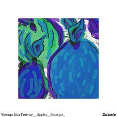 Vintage Blue Fruit Canvas Print