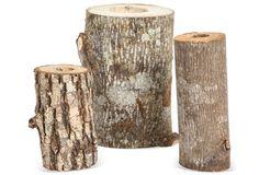Wood Candlesticks, Set of 3, IV