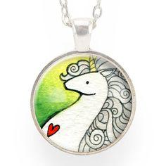 Unicorn Necklace On Green – CellsDividing