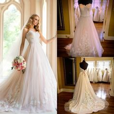 Bride Gowns 2016 Princess Ball Gowns Wedding Dresses Real Images By Stella York Strapless Beaded Appliques Tulle Romantic Bridal Gowns With Court Train Elegant Wedding Dresses From Nicedressonline, $178.02| Dhgate.Com