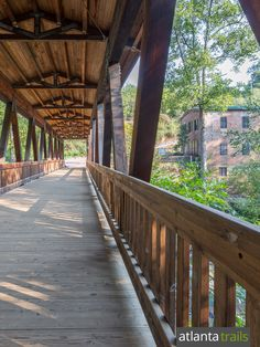 The Vickery Creek Trail crosses a covered bridge to explore the historic Roswell Mill ruins near Roswell, GA