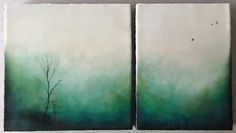 """""""Morning Dew"""" 22""""x12"""" encaustic diptych ....love working on diptych's and I love this fresh new palette!!!"""