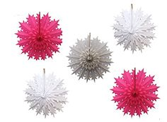 White, gray, and cerise pink tissue paper snowflake decorations. 19 inch snowflakes made in USA by Devra Party, sold on Amazon.