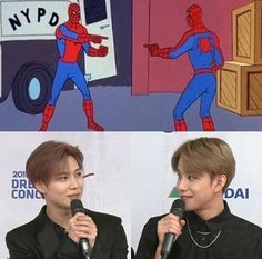 the first time i saw jungwoo i was like what is taemin doing with nct Funny Kpop Memes, Exo Memes, Meme Faces, Funny Faces, Nct Instagram, Taeyong, Jaehyun, K Pop, Nct 127