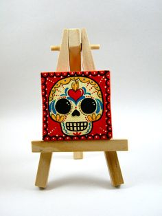 Sugar Skull Mini Canvas Painting by MyMayanColors on Etsy Original Art by My Mayan Colors (Ruth Barrera). All images are the sole property of My Mayan Colors and not intended for copy