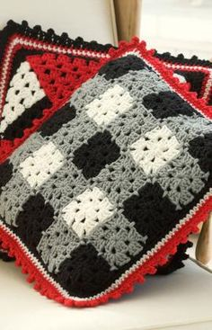 Plaid Pillow Crochet Pattern- Red Heart Pattern-