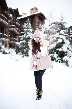 Monday, January 16, 2017 Pops of Pink (Snow Day in Park City) -  JACKET: old | BEANIE: out of stock via H&M | SUNGLASSES: random cheap store | LEGGINGS: Zella | TEE: BP | HANDBAG: Prada | WATCH: Nixon | BRACELETS: The Styled Collection c/o, David Yurman | BOOTIES: Cecelia New York c/o | SCARF: LV (Rose Ballerine)