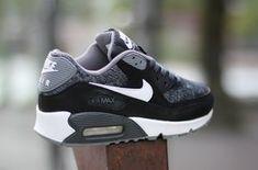 Nike Air Max 90 GS Woven White Black Grey