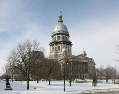 Illinois State Capitol, located in Springfield. The capitol dome is covered in zinc to provide a silvery facade which does not weather. With a total height of 361 feet (110 m), the Illinois capitol is the tallest non-skyscraper capitol, even exceeding the height of the United States Capitol in Washington, DC