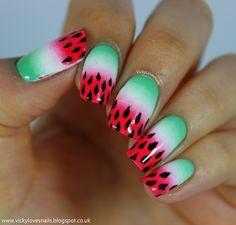 Watermelon Gradient Nails
