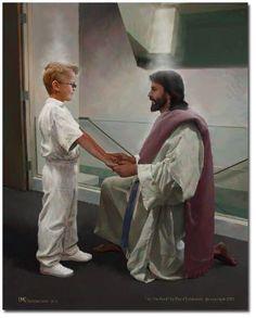 "Boy At the Font - Baptism - Doc Christensen - 11x14"""