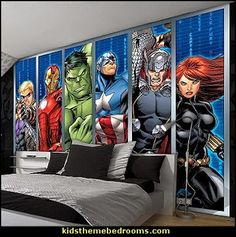 marvel avengers assemble strips wallpaper mural visit to grab an unforgettable superhero room decor superman