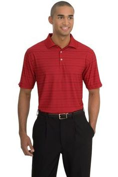 Nike Golf - Dri-FIT Tech Tonal Band Polo. 286774. Engineered with Dri-FIT moisture management technology, this polo has earned its stripes in comfort and unique style. Exceptionally breathable, it's made with a striking tone-on-tone jacquard fabric that enhances a logo or decoration. Design features a flat knit collar, three-button placket and open hem sleeves. Made of 5-ounce, 100% polyester Dri-FIT fabric. www.logosurfing.com (800) 728-7192
