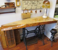 antique singer sewing table upcycle | ... SALVAGED upcycled Cast Iron Antique Singer Sewing table Base WHAGN