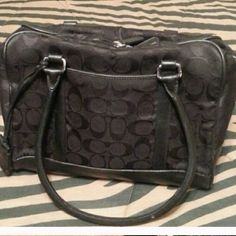 Black on black canvas Coach bag. Genuine Coach bag. Creed is shown in picture. Medium size. Very good condition, just too small for me. Coach Bags Shoulder Bags