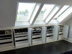 Under eaves storage idea-shelves and drawers - for the upper part of the attic Attic Bedroom Storage, Attic Bedrooms, Bedroom Loft, Eaves Bedroom, Bedroom Drawers, Eaves Storage, Loft Storage, Storage Design, Shoe Storage