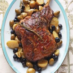 For a leg of lamb that's moist, tender, and falling off the bone, try braising the meat instead of roasting it. New potatoes and olives can be cooked alongside the lamb.