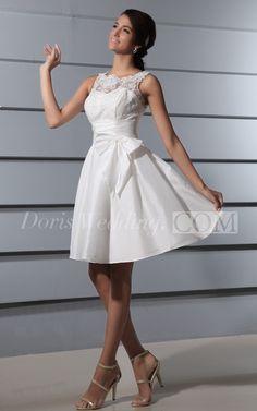 Unique Beutiful Deep V-Back Short Lace Wedding Dress with Sash and Bow #DorisWedding  #dresses #wedding #dress #lace #wedding #dress #styles #affordable #wedding #dresses #unique #wedding