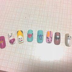 とりあえず家にある道具だけで作った… 汚い() #セルフネイル #bt21 #방단소년단 K Pop Nails, Bts Concert, Heart And Mind, Nail Art Galleries, Beauty Nails, Diy And Crafts, Kpop, Nailart, Korean