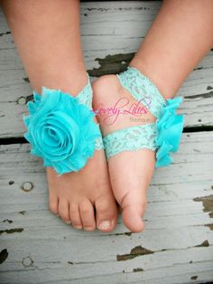 20OFF .. Baby Barefoot Sandals .. Aqua on by LovelyLiliesBoutique, $6.50