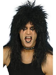 You can buy a Smiffy's Hard Rocker Wig for hard rocker costume in parties from the Halloween Spot. This black Long Tousled wig gives a complete hard rocker look. Kiss Fancy Dress, Simply Fancy Dress, 1980s Fancy Dress, Fancy Dress Wigs, Halloween Fancy Dress, Halloween Costumes, Halloween Makeup, Halloween Party, Black Tees