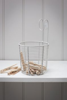 Vintage inspired this peg basket is perfect to hang either on the line or on a hook indoors.