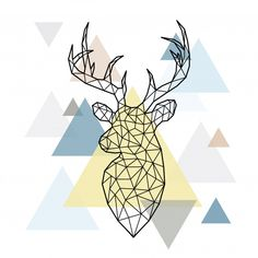 Abstract polygonal head of a forest deer on simple triangles background. Geometric Drawing, Abstract Shapes, Triangle Background, Framed Wallpaper, Texture Photography, Ipad Art, Doodle Patterns, Watercolor Illustration, Abstract Backgrounds