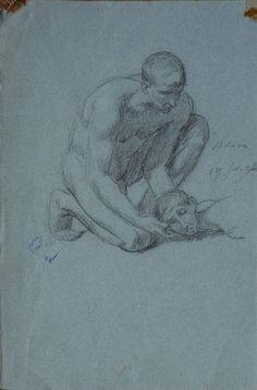 Bida Alexandre - Pencil - Adam ( étude pour la mort d'Abel) - 24.3x16cm; daté du 19 février 1894, ce dessin est une étude tardive pour un tableau (Bida est mort en 1895)