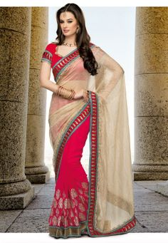 Beige and Dark Pink Crush Tissue and Faux Georgette Saree with Blouse @ $138.26