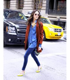 @Who What Wear - Skinny Jeans                 Spring Shoe Match: Bright High-Heel Sandal