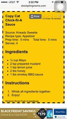Chick-fil-a copy cat sauce