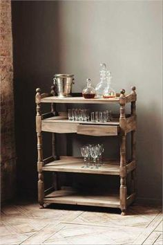 Rustic Reclaimed Wood Bar with 2 Drawers