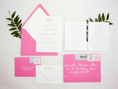 Pink and orange preppy wedding invitation