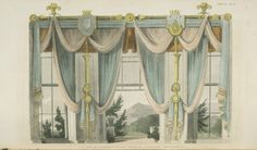 images of three window dining room curtains | 1811 - French Drapery Window Curtains Window Curtain from Ackermann's ...