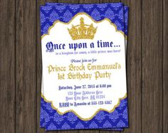 Prince Thank You Card Royal Blue First Birthday by PuggyPrints