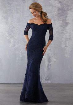 Lace and Net Social Occasion Dress with Beaded Lace Appliqués Allover. Beaded Lace Appliqués on Net Over Chantilly Lace. Colours Available: Champagne, Navy Best Prom Dresses, Dressy Dresses, Elegant Dresses, Formal Dress, Long Navy Dress, Formal Wear, Lace Dresses, Formal Prom, Wedding Dresses