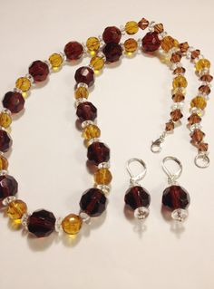 Brown and Yellow Necklace and Earrings Set, Earrings in Hooks, Clip ons, Lever backs or Posts, Free Shipping anywhere in the USA