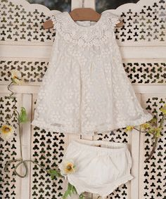 Take a look at this Ecru Avonlea Dress & Diaper Cover - Infant by April Cornell on #zulily today!
