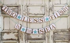 BEACH Wedding Signs-Engaged Banners-2 LESS FISH Starfish-banner-Rustic Engagement Party decorations