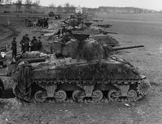 Canadian Shermans of the Governor General's Horse Guards at Sonsbeck, Germany 9 March 1945.